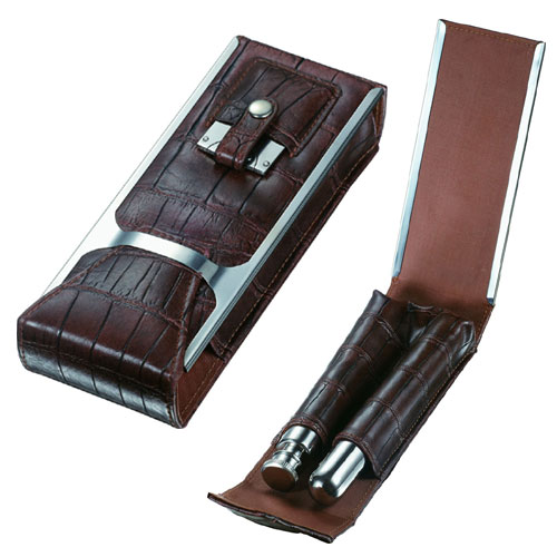 "Buy online cigar stores - Visol ""Alton\"" Brown Leather Cigar Case, Cigar Cutter and Flask Travel Set"